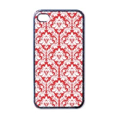 White On Red Damask Apple Iphone 4 Case (black)