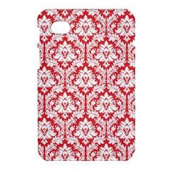 White On Red Damask Samsung Galaxy Tab 7  P1000 Hardshell Case