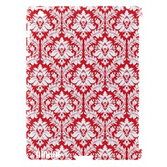 White On Red Damask Apple Ipad 3/4 Hardshell Case (compatible With Smart Cover)