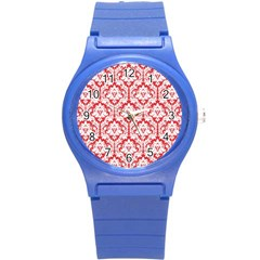 White On Red Damask Plastic Sport Watch (Small)