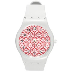 White On Red Damask Plastic Sport Watch (Medium)