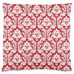Poppy Red Damask Pattern Large Cushion Case (Two Sides)
