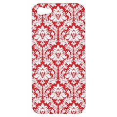 White On Red Damask Apple Iphone 5 Hardshell Case