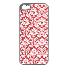 White On Red Damask Apple iPhone 5 Case (Silver)