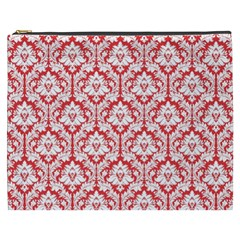 Poppy Red Damask Pattern Cosmetic Bag (xxxl)