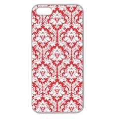White On Red Damask Apple Seamless iPhone 5 Case (Clear)