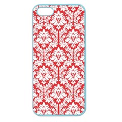 White On Red Damask Apple Seamless Iphone 5 Case (color)