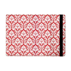 White On Red Damask Apple iPad Mini Flip Case