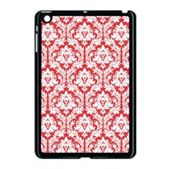 White On Red Damask Apple iPad Mini Case (Black)