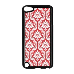 White On Red Damask Apple iPod Touch 5 Case (Black)