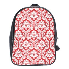White On Red Damask School Bag (XL)