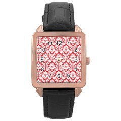 White On Red Damask Rose Gold Leather Watch