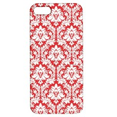White On Red Damask Apple iPhone 5 Hardshell Case with Stand