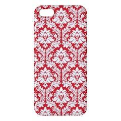 White On Red Damask Apple Iphone 5 Premium Hardshell Case