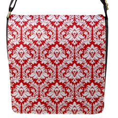 Poppy Red Damask Pattern Flap Closure Messenger Bag (s)