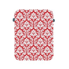 White On Red Damask Apple iPad Protective Sleeve