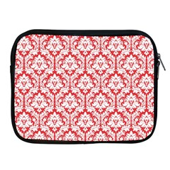 White On Red Damask Apple Ipad Zippered Sleeve