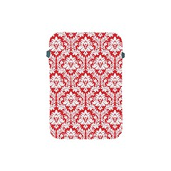 White On Red Damask Apple Ipad Mini Protective Sleeve