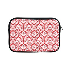 White On Red Damask Apple Ipad Mini Zippered Sleeve