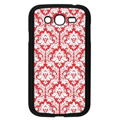 White On Red Damask Samsung Galaxy Grand DUOS I9082 Case (Black)