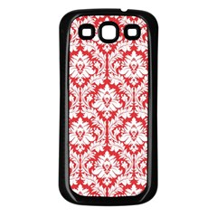 White On Red Damask Samsung Galaxy S3 Back Case (black)