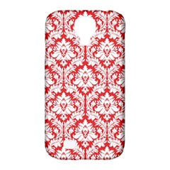 White On Red Damask Samsung Galaxy S4 Classic Hardshell Case (PC+Silicone)