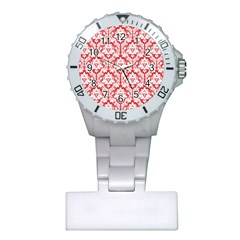 White On Red Damask Nurses Watch