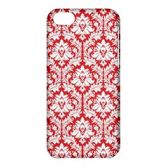 White On Red Damask Apple iPhone 5C Hardshell Case