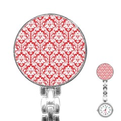 White On Red Damask Stainless Steel Nurses Watch