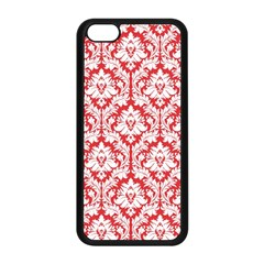White On Red Damask Apple Iphone 5c Seamless Case (black)