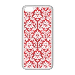 White On Red Damask Apple iPhone 5C Seamless Case (White)