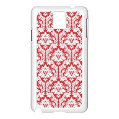 White On Red Damask Samsung Galaxy Note 3 N9005 Case (White)