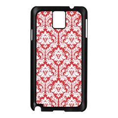 White On Red Damask Samsung Galaxy Note 3 N9005 Case (Black)