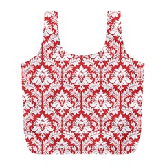 Poppy Red Damask Pattern Full Print Recycle Bag (L)