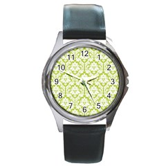 White On Spring Green Damask Round Leather Watch (Silver Rim)