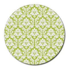 White On Spring Green Damask 8  Mouse Pad (Round)