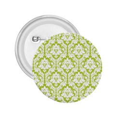 White On Spring Green Damask 2 25  Button