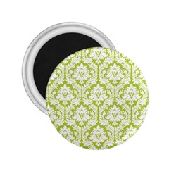 White On Spring Green Damask 2.25  Button Magnet