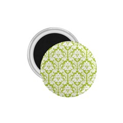 White On Spring Green Damask 1.75  Button Magnet
