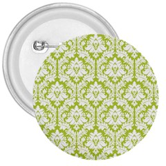 White On Spring Green Damask 3  Button