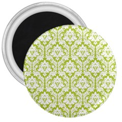 White On Spring Green Damask 3  Button Magnet
