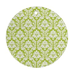 White On Spring Green Damask Round Ornament