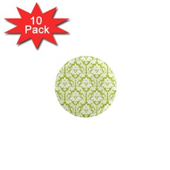 White On Spring Green Damask 1  Mini Button Magnet (10 Pack)