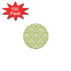 White On Spring Green Damask 1  Mini Button (100 pack)