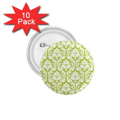 White On Spring Green Damask 1.75  Button (10 pack)