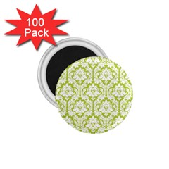 White On Spring Green Damask 1.75  Button Magnet (100 pack)