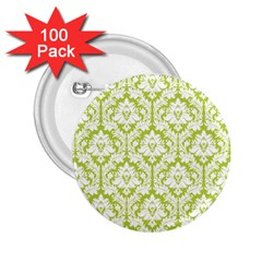 White On Spring Green Damask 2.25  Button (100 pack)