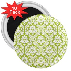 White On Spring Green Damask 3  Button Magnet (10 Pack)