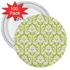 White On Spring Green Damask 3  Button (100 pack)