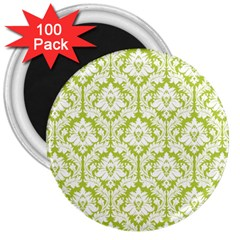 White On Spring Green Damask 3  Button Magnet (100 pack)